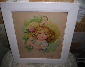 Victorian lithograph, Little Bo Peep, Maude Humphrey Bogart, vintage 1901 original lithograph