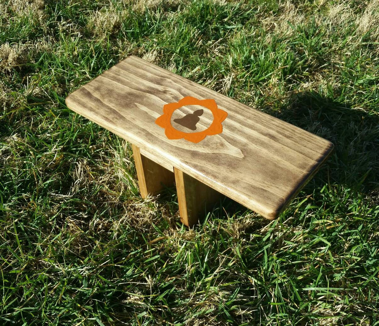 Hand Crafted Walnut Stain Pi Meditation Bench With Buddha And