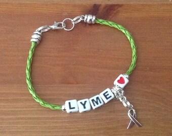 Purple Epilepsy Braid Bracelet-Medic Alert-Braided-Aware-Cancer-Disbility-Heart-Hope Ribbon Charm-Lyme-Blue-Black-Blue-Lime Green brown