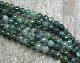 "6 mm Green Moss Agate Beads, 15"" strand - Item B0580"