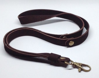 Dark brown Nubuck leather lanyard.