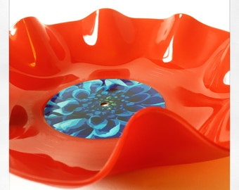 Red Vinyl Wiggly Flower Bowl - Blue Flower Design
