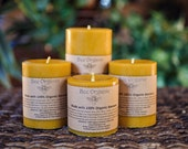 Organic Beeswax Pillar Candles Large Set of 3