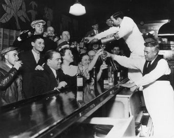 Bar Scene 1933, End of Prohibition : Bar Decor, Prohibition Era America Photo Print