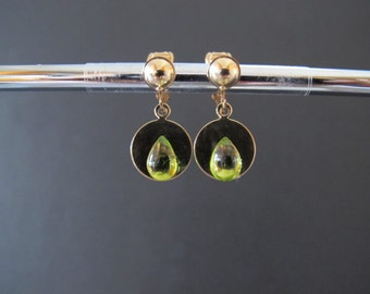 Non Pirerced Peridot Clip Drop Earrings