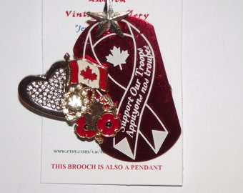Patriotic CANADA Themed Brooch and/or Pendant. Support our Troops.  1-of-a-kind. Collage Brooch.  Red, White, Silver. #75