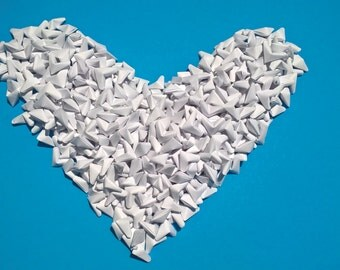 1000 White origami hearts, bright white origami hearts, origami wedding decoration