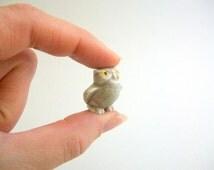 Miniature Owl, Owl Figurine, Porcelain Owl, Terrarium Owl, Terrarium Figurine, Miniature Figurine Fairy Garden Owl Terrarium Animal Gray Owl