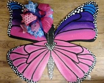 Butterfly Door Hanger, Spring door hanger, wreath, hand painted door hanger