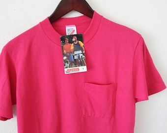 SMALL Vintage 80s/90s JERZEES (New with Tag) Deadstock Hot Pink with Chest Pocket Plain T-Shirt