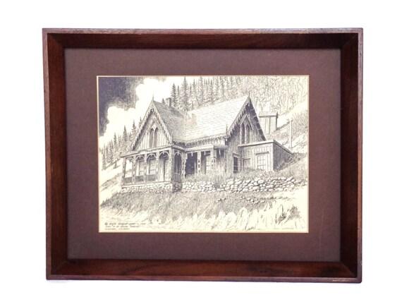 Vintage sketch Lace House Blackhawk Colorado signed 1860s architecture