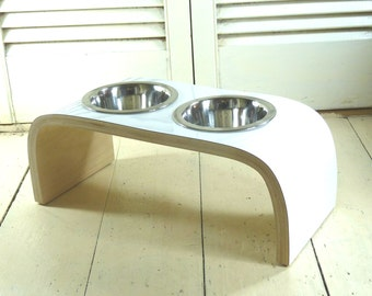White Gloss with Natural Birch Veneer Raised Pet Feeder available in various sizes