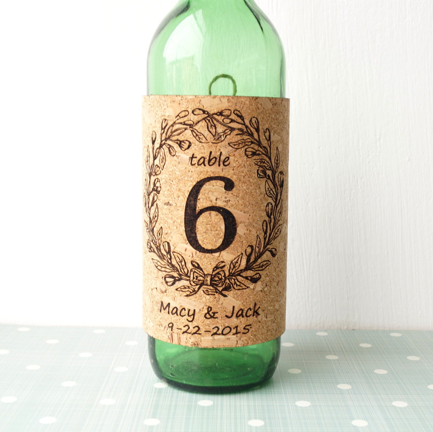 Wine Cork Table Numbers: Table Numbers Wine Bottle Labels Rustic Cork Personalized