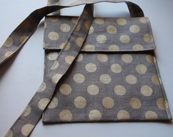 Gold Polka Dots Linen Cross Body Bag with Zipper Pocket Inside
