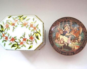 Snow White Tin Box, Movie Collectible Cartoon, Daher Floral Tin,Storage Containers, Tea Tins, Biscuit Tin