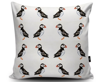 Patterned Puffin Cushion, Surface Pattern Puffin Pillow, Puffin Home Decor, Puffin Bedding Seabird Cushion, Beach Seaside Pillow by Rhiannon