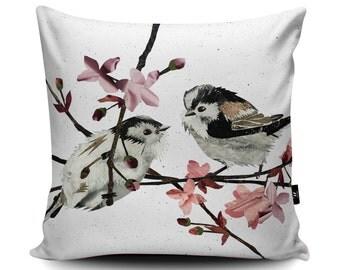 Long-tailed Tits Cushion, Tits Pillow, Cherry Blossom Cushion, Cherry Blossom bedding, Friendship Cushion, Wedding Gift Cushion, Bird Decor