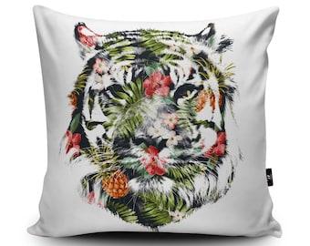 Tiger Cushion Tropical Tiger Cushion Cover Jungle Decorative Cushion Rainforest Pillow, 45cm/60cm, 18inch/23.6inch Faux Suede Cushion