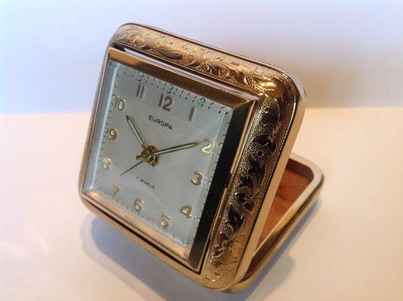 Unusual 1950s Rotating Travel Alarm Clock