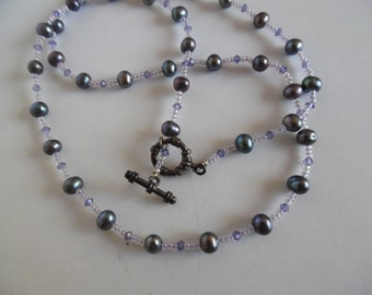Black Cultured Pearl Necklace with Purple Austrian Crystals and a Toggle Clasp