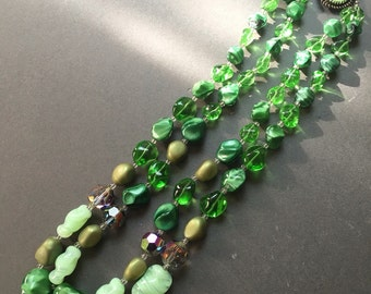 Vintage Twin Strand Glass Bead Necklace