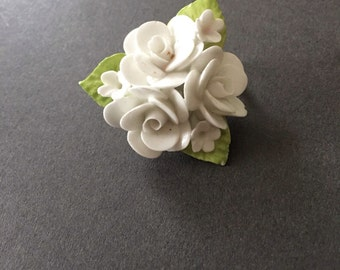 Vintage Rose Bouquet Poreclain Ceramic Brooch by Coalport Made In England Pin