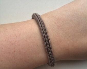 Handmade bracelet, knitted bracelet, yarn bracelet, dark grey bracelet, knit bracelet, knit jewelry