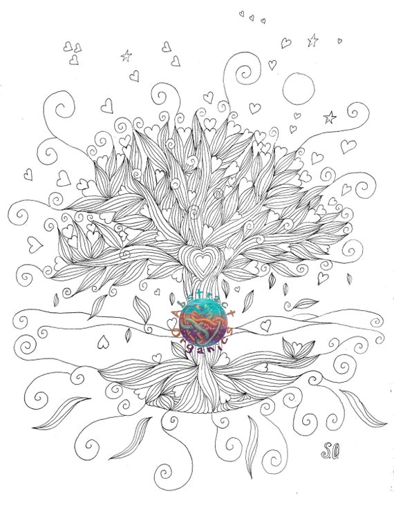 Abstract Tree Coloring Pages : Tree of life abstract coloring pages