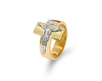 14k solid gold two tone crucifix men's ring. religious jewelry.