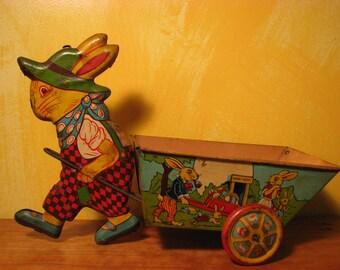 Vintage Chein Tin Bunny and Wagon Toy