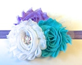 Girls Hair Clip or Head Band, Hair Bow, Shabby Chiffon Hair Clip, Turquoise and Purple, Made to Match by 8th Day Studio