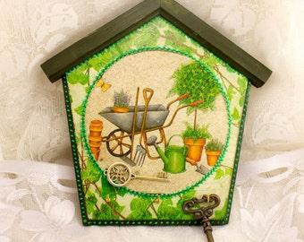 Key rack key holder garden Vintage wooden key holder key board key hooks organizer key hook holder wall key rack holder hook holder hook