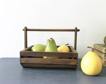 WOOD BASKET, Farmhouse decor basket, all wooden basket, fruit basket, farmhouse kitchen decor, wood basket for storage, wooden box