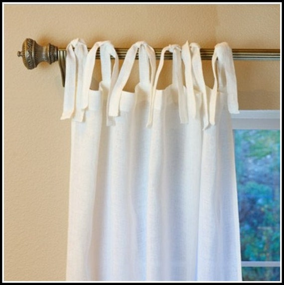 Pair Linen 52 39 39 Tie Top Curtains Drapes Panels By
