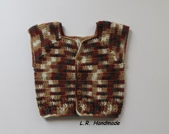 Crochet Baby Boys Vest, Spring Vest, 6 to 12 Months, Sleeveless Cardigan, Baby Clothes, Sweaters, Multi-Color vest, Light / dark Brown