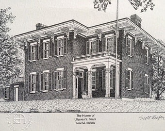 Home of Ulysses S Grant - Print of Etched Drawing - Vintage Signed Scott Kiefer Print