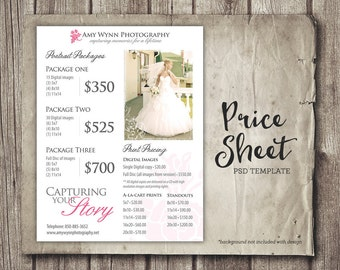 Wedding Photography Pricing - Photographer Price List - Marketing - Photoshop Template Photography Packages - INSTANT DOWNLOAD