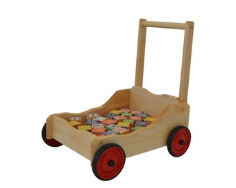 Wooden Toy Walker Wagon-Walker Wagon-Toddler Walker Wagon-Baby Walker Wagon-Hardwood Walker Wagon-Toddler Push Cart-Toddler Wagon
