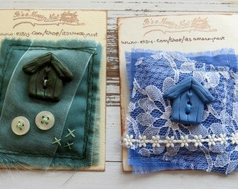 Fabric brooch -fabric pin -stitched brooch - mixed media brooch - blue polymer clay  bird house - fibre pin - clothing accessory - uk seller