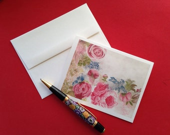 "Floral Rose Stationery, Pack of 5 Blank Notecards - ""Bouquet for Lydia"" floral, pink, roses, peonies"