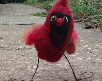 Needle Felted Cardinal - made to order, wool bird sculpture