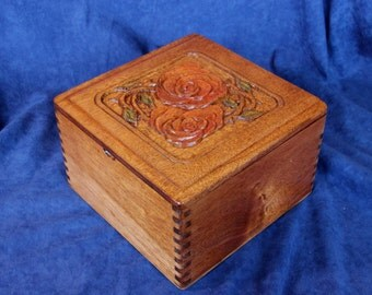 Sewing Notions Box, Knitting, Embroidery, etc. - Re-Purposed Wooden Cigar Box w/ Hand-Carved Top (Box No. 17)