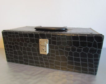 Vintage Black  Storage Box Case Caddy  Faux Alligator Fabric Cassette Tape Storage Solutions