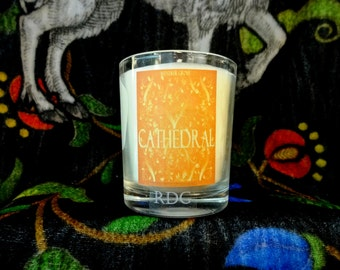 Cathedral Votive Candle - 15 Hour Burn Time, Honey and Smoke Candle, Polished Teak, Vellum and Incense Candle