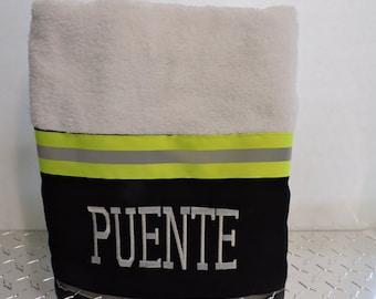 Firefighter Personalized Bath towel black