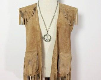Vintage Brown Suede Vest / Leather Fringe Vest / 1970s 70s Vest