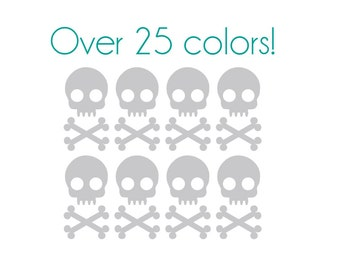 Skull Nail Decals - Vinyl, Custom Choice of Color