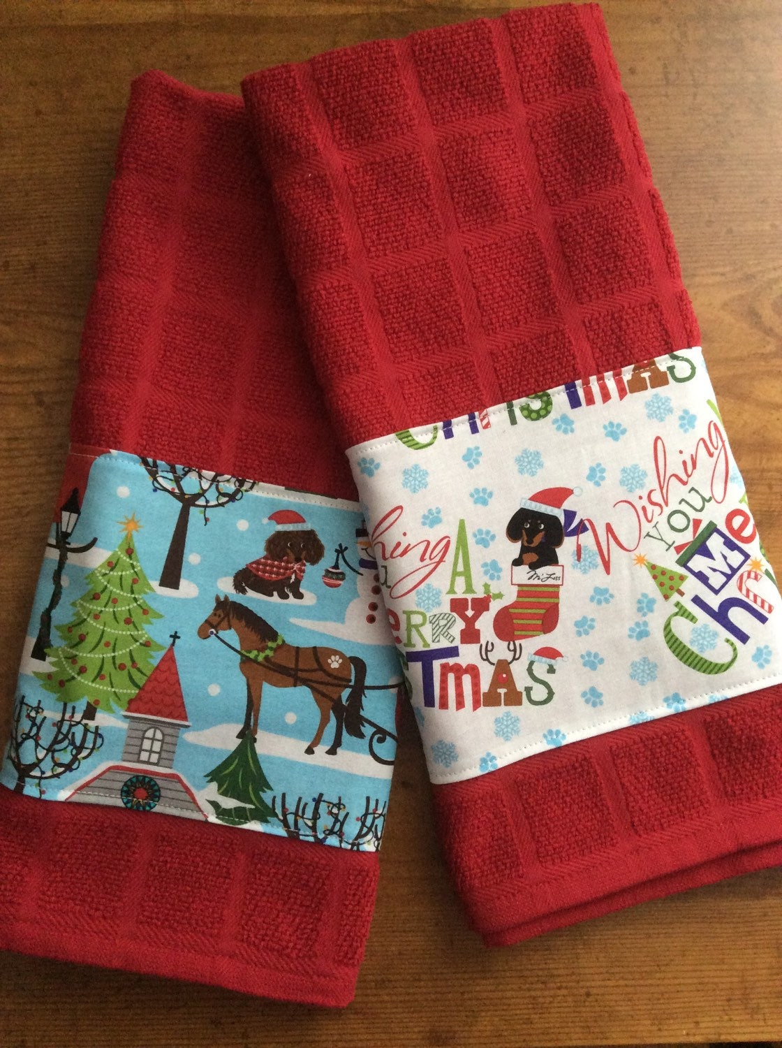 Dachshund Christmas Kitchen Towels Dog Kitchen Towels