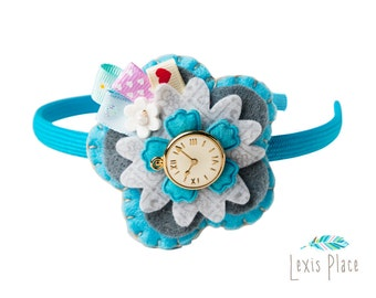 Alice in wonderland hairband, Whimsical, Alice in wonderland accessory, flower hairband, pocket watch button accessory