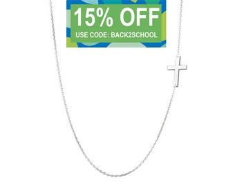Tiny Sideways Cross necklace off centered pendant on 925 Sterling Silver celebrity Kelly Ripa